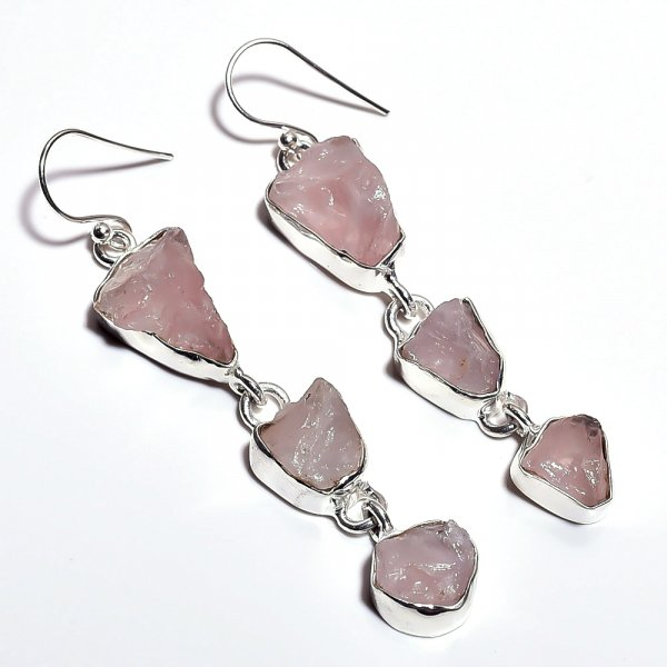 Rose Quartz Raw Gemstone 925 Sterling Silver Earrings
