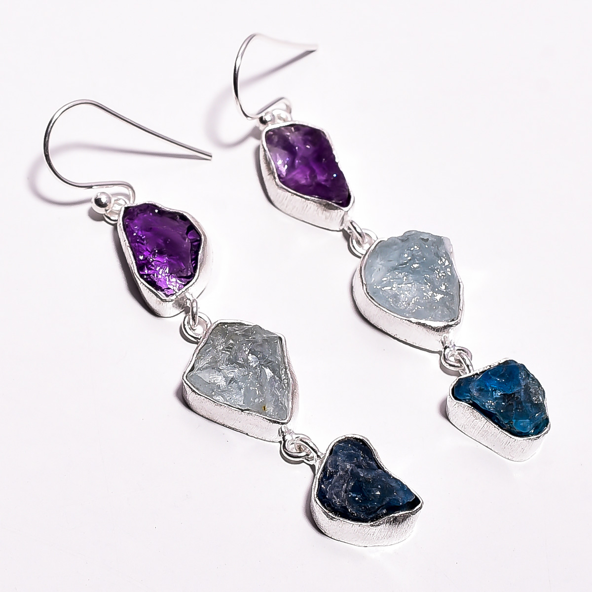 Amethyst  Aquamarine Neon Apatite Raw Gemstone 925 Sterling Silver Earrings