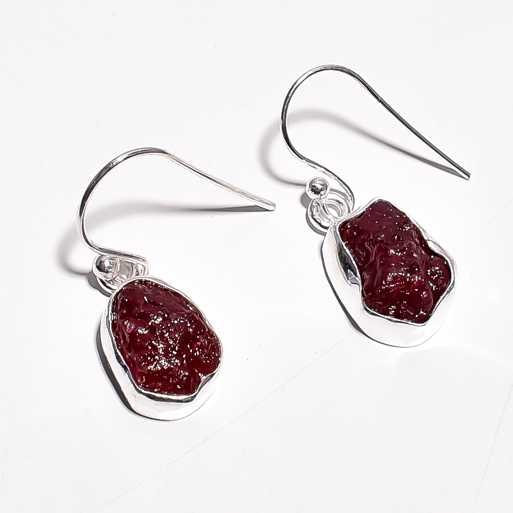 Corundum Ruby Raw Gemstone 925 Sterling Silver Earrings