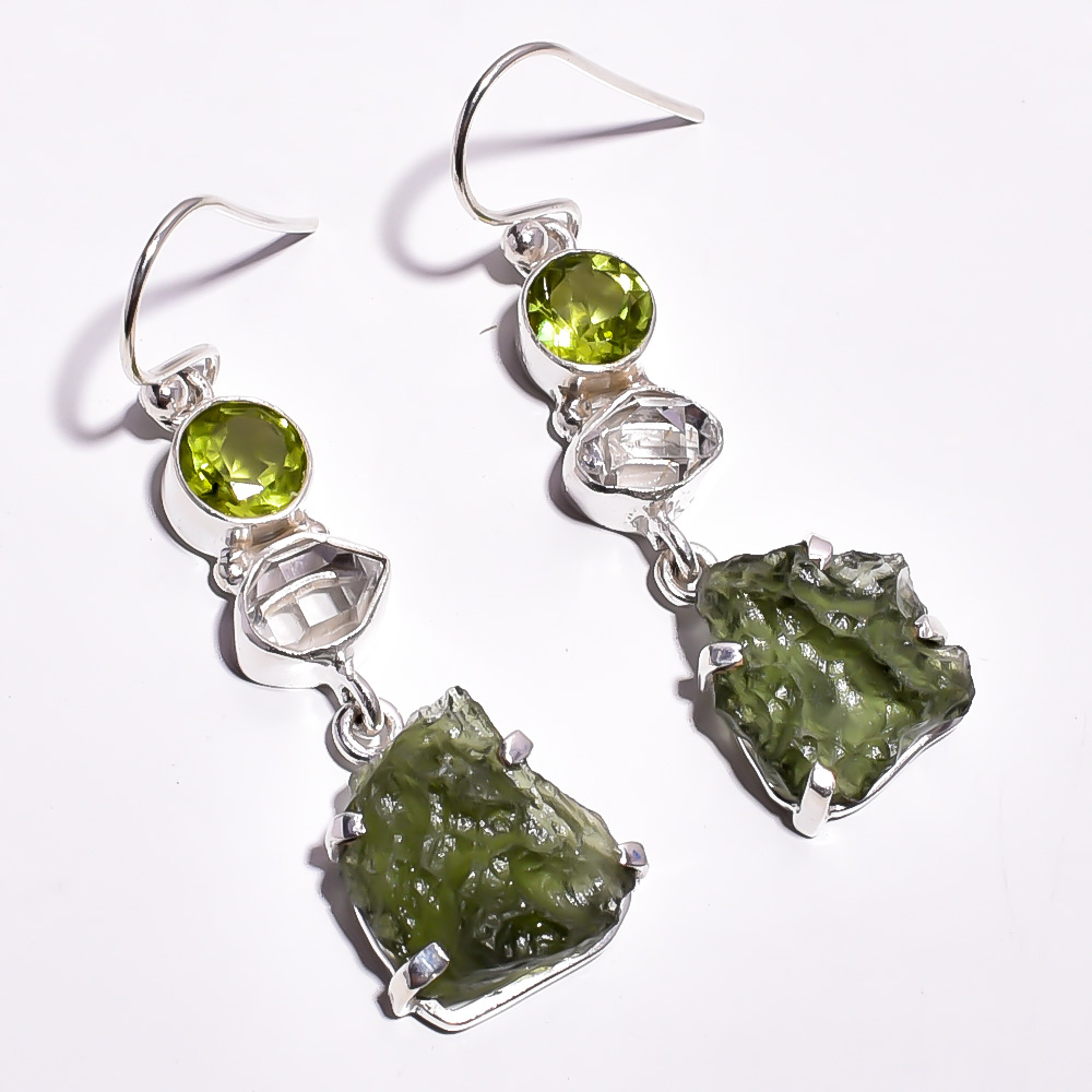 Moldavite Herkimer Diamond Raw Gemstone 925 Sterling Silver Earrings