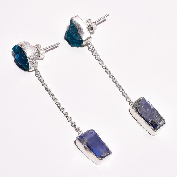 Neon Apatite Blue Kyanite Raw Gemstone 925 Sterling Silver Earrings