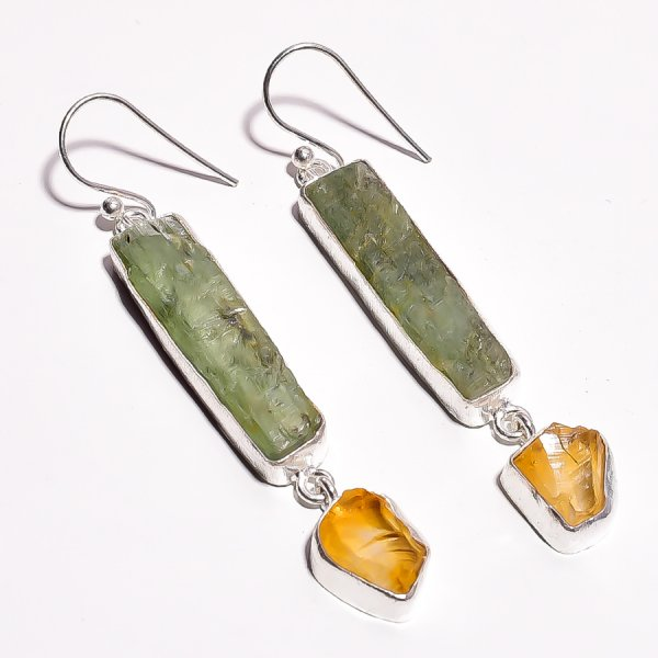 Green Kyanite Citrine Ruby Raw Gemstone 925 Sterling Silver Earrings