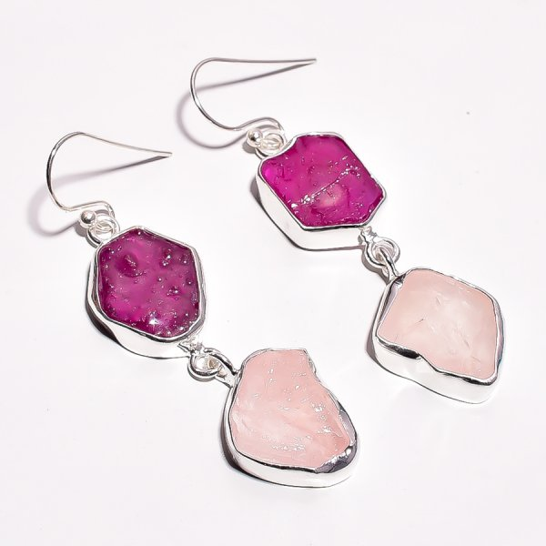 Corundum Ruby Rose Quartz Raw Gemstone 925 Sterling Silver Earrings