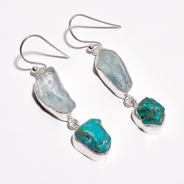 Aquamarine Turqoise Raw Gemstone 925 Sterling Silver Earrings