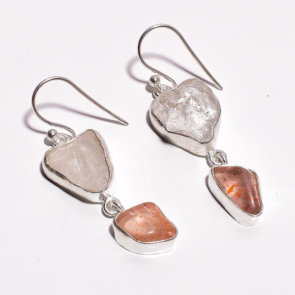 Crystal Sunstone Raw Gemstone 925 Sterling Silver Earrings