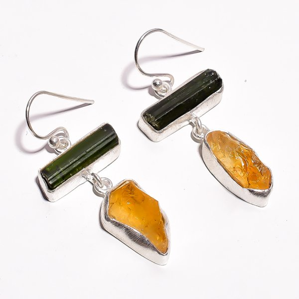 Green Tourmaline Citrine Raw Gemstone 925 Sterling Silver Earrings