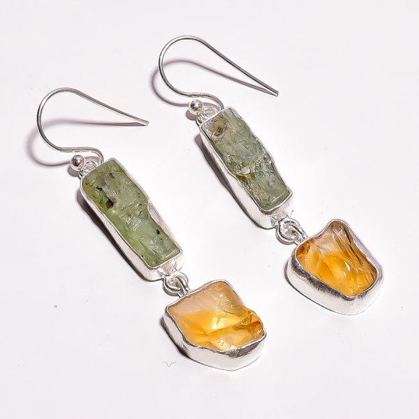 Green Kyanite Citrine Raw Gemstone 925 Sterling Silver Earrings