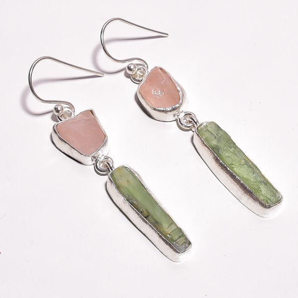 Rose Quartz Green Kyanite Raw Gemstone 925 Sterling Silver Earrings