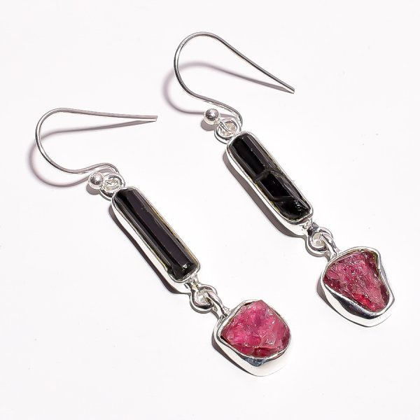 Black Tourmaline Pink Tourmaline Raw Gemstone 925 Sterling Silver Earrings