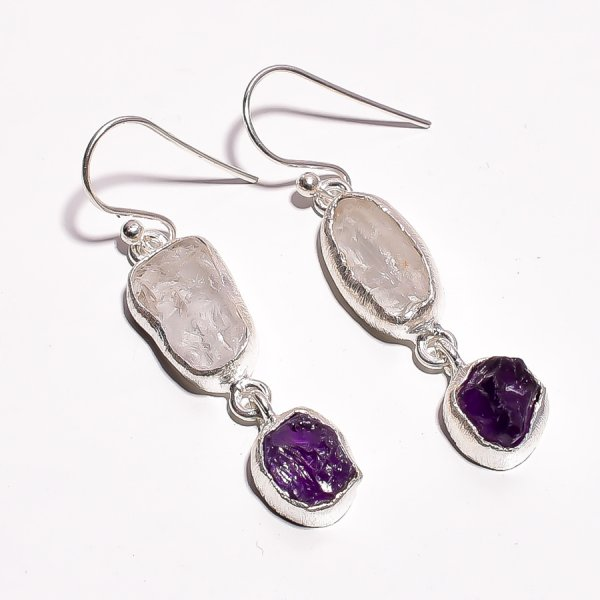 Crystal Amethyst Raw Gemstone 925 Sterling Silver Earrings