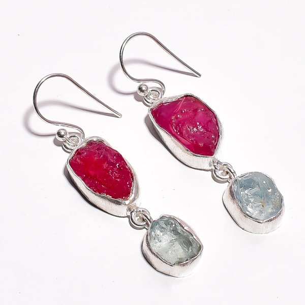 Corundum Ruby Aquamarine Raw Gemstone 925 Sterling Silver Earrings