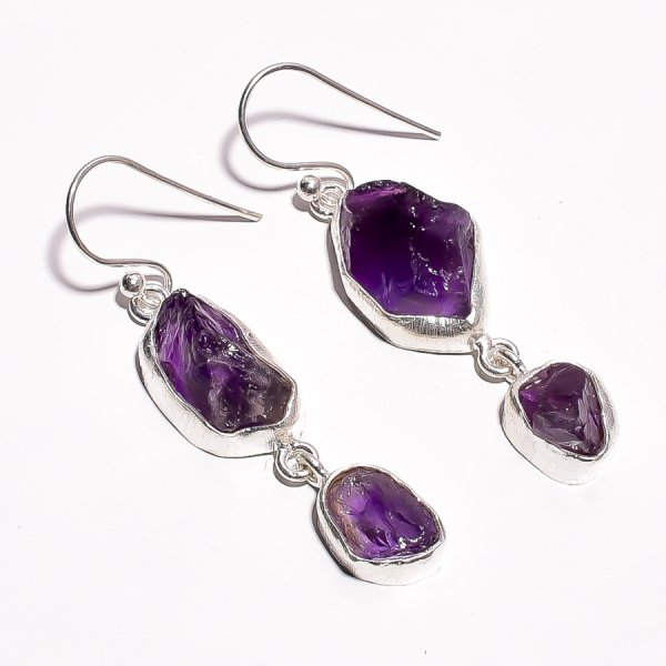 Amethyst Raw Gemstone 925 Sterling Silver Earrings
