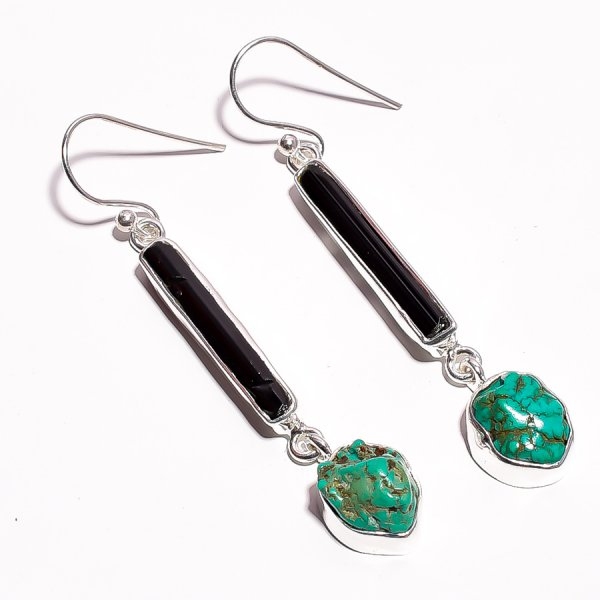 Green Tourmaline Turquoise Raw Gemstone 925 Sterling Silver Earrings