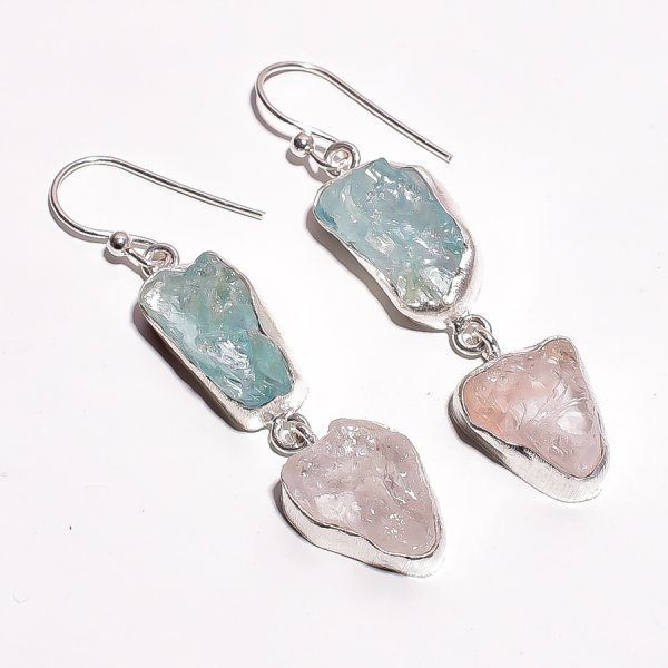 Aquamarine Crystal Raw Gemstone 925 Sterling Silver Earrings