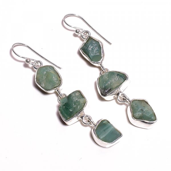 Natural Raw Emerald Gemstone 925 Sterling Silver Earrings