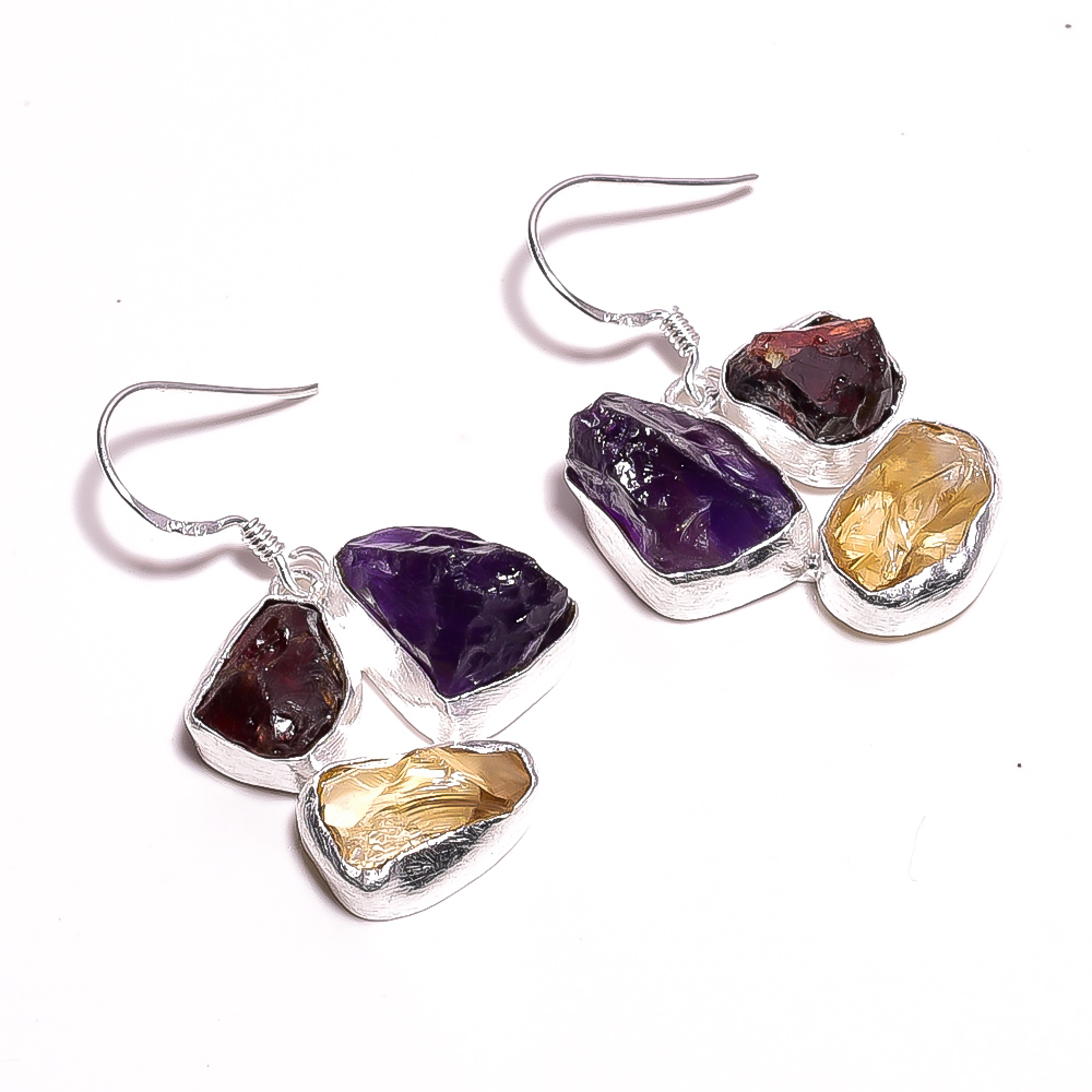 Amethyst Garnet Raw Gemstone 925 Sterling Silver Earrings