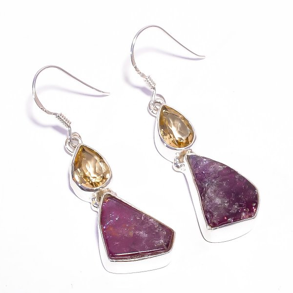 Pink Tourmaline Citrine Raw Gemstone 925 Sterling Silver Earrings