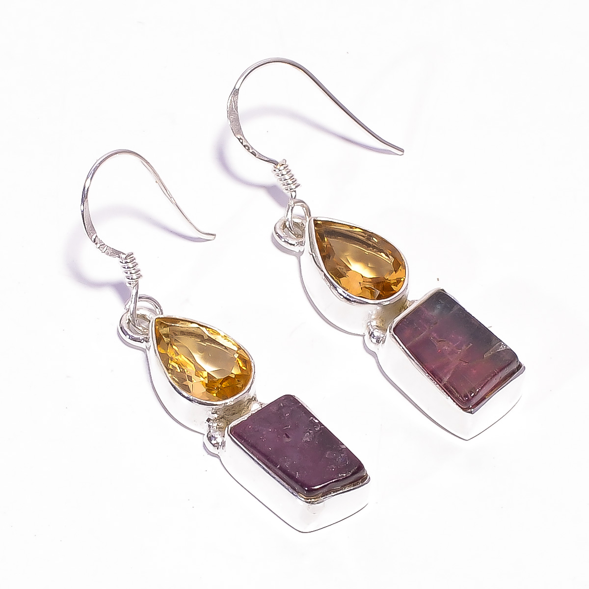 Pink Tourmaline Raw Gemstone 925 Sterling Silver Earrings