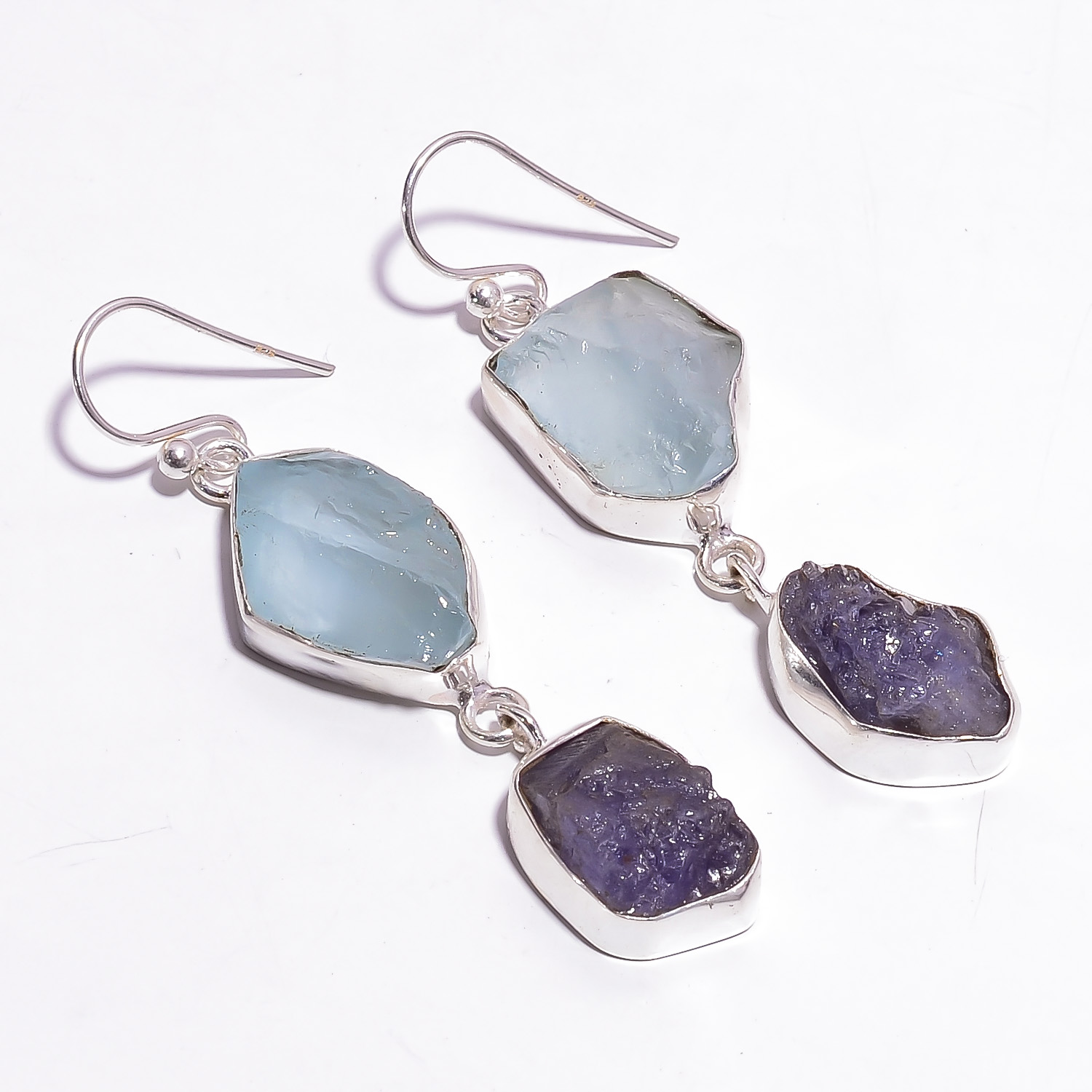 Aquamarine Tanzanite Raw Gemstone 925 Sterling Silver Earrings