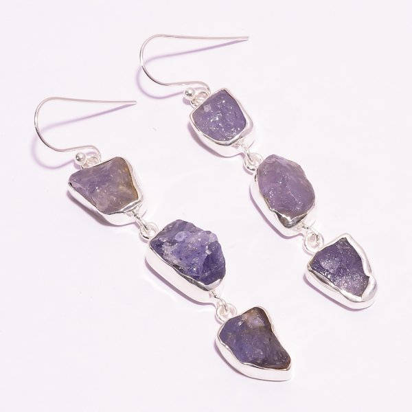 Tanzanite Raw Gemstone 925 Sterling Silver Earrings