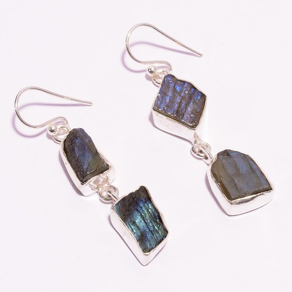 Labradorite Raw Gemstone 925 Sterling Silver Earrings