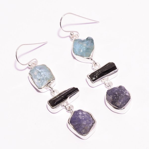 Aquamarine Black Tourmaline Raw Gemstone 925 Sterling Silver Earrings