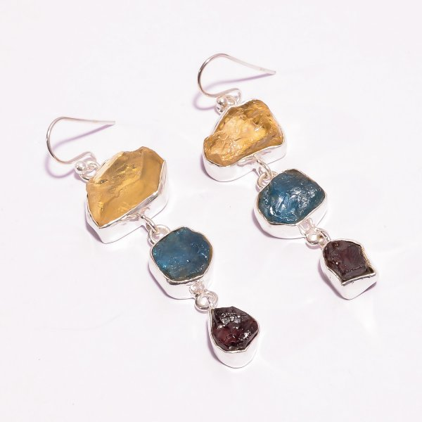 Citrine Neon Apatite Raw Gemstone 925 Sterling Silver Earrings