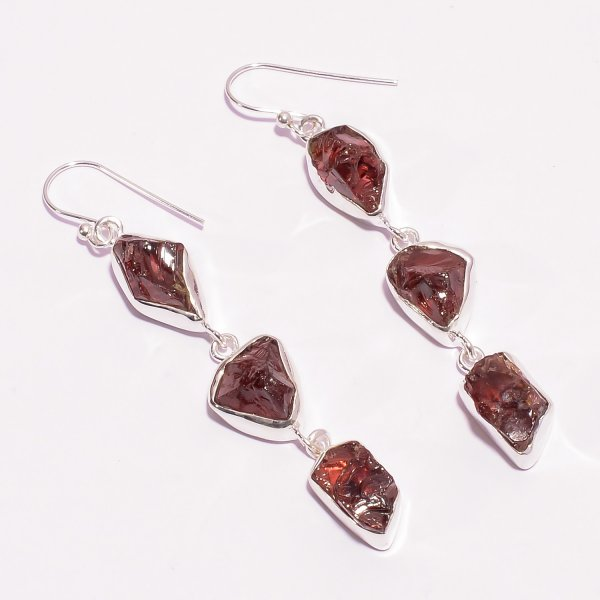 Natural Garnet Raw Gemstone 925 Sterling Silver Drop Earrings