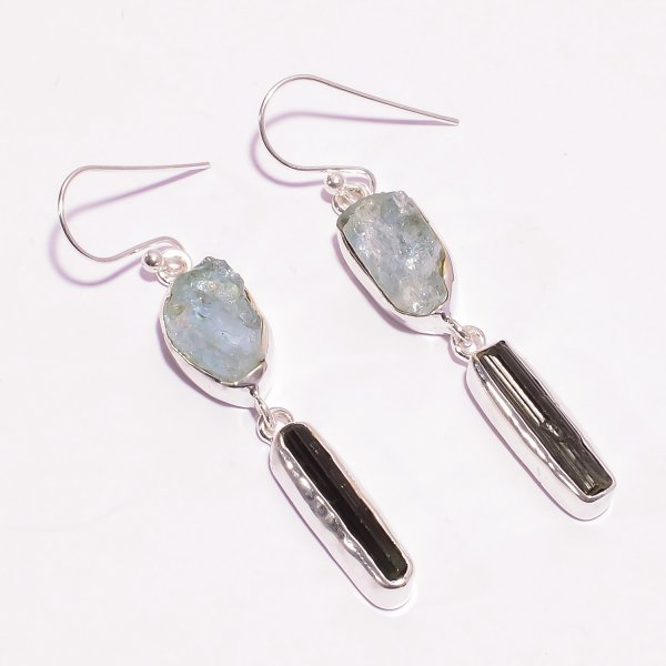 Aquamarine Green Tourmaline Raw Gemstone 925 Sterling Silver Earrings