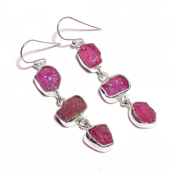 Ruby Raw Gemstone 925 Sterling Silver Earrings