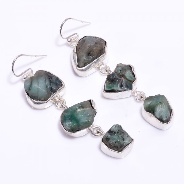 Emerald Raw Gemstone 925 Sterling Silver Earrings