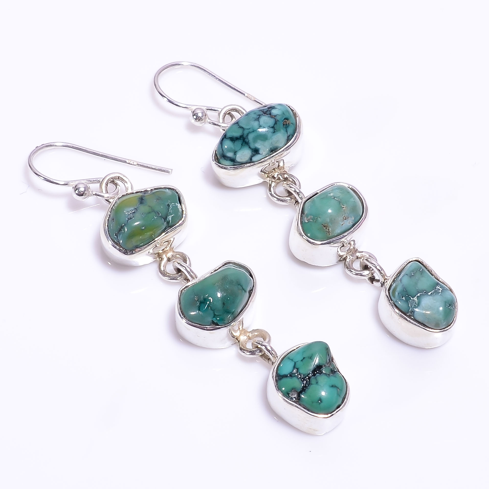 Turquoise Raw Gemstone 925 Sterling Silver Earrings