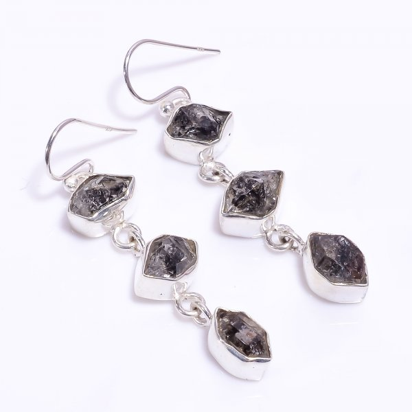 Herkimer Diamond Raw Gemstone 925 Sterling Silver Earrings
