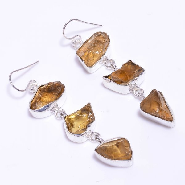 Citrine Raw Gemstone 925 Sterling Silver Earrings