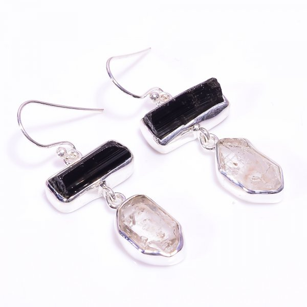 Black Tourmaline Herkimer Diamond Raw Gemstone 925 Sterling Silver Earrings
