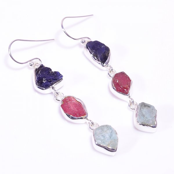 Sapphire Ruby Raw Gemstone 925 Sterling Silver Earrings