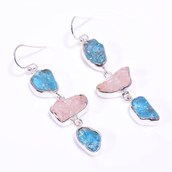 Sky Apatite Morganite Raw Gemstone 925 Sterling Silver Earrings