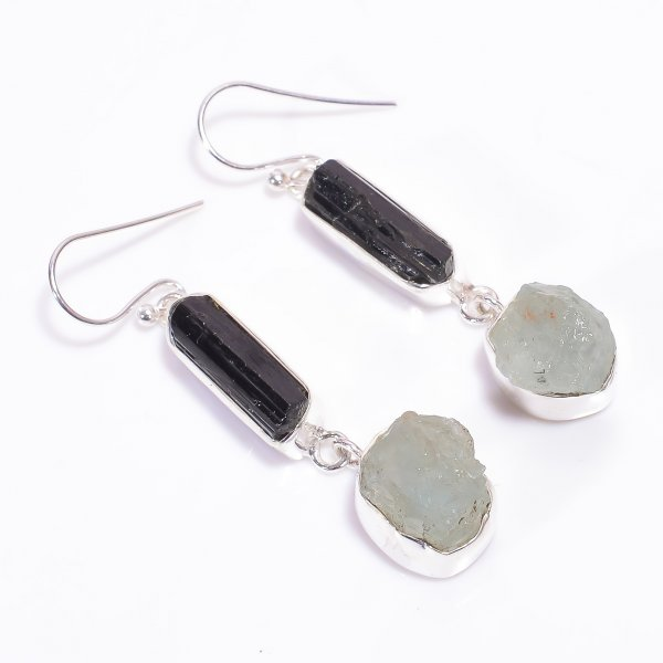Black Tourmaline, Aquamarine Raw Gemstone 925 Sterling Silver Earrings