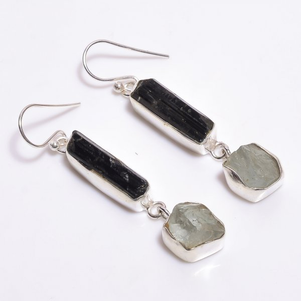 Black Tourmaline Aquamarine Raw Gemstone 925 Sterling Silver Earrings