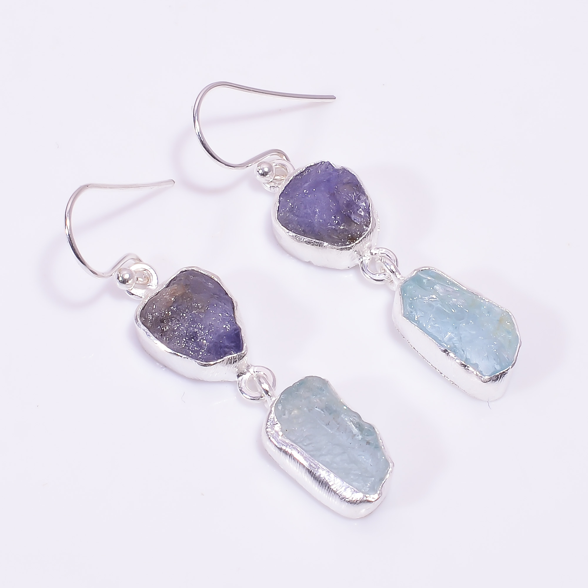 Tanzanite Aquamarine Raw Gemstone 925 Sterling Silver Earrings