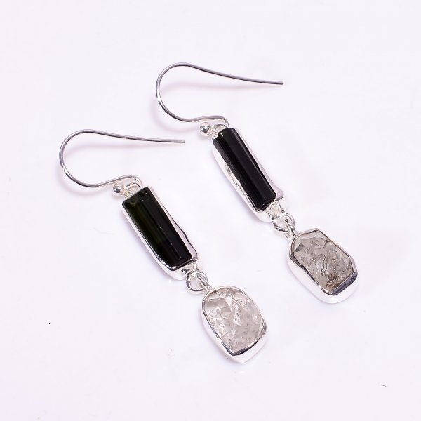 Natural Black Tourmaline Herkimer Diamond 925 Sterling Silver Earrings