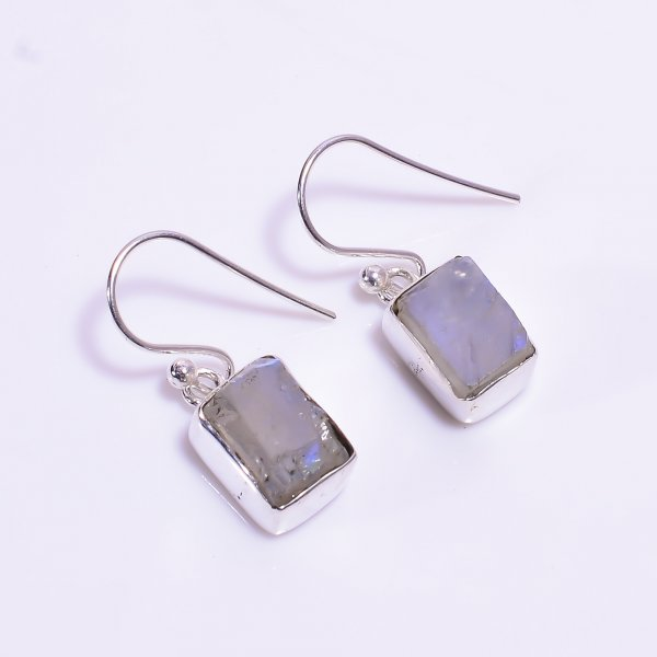 Natural Raw Rainbow Moonstone 925 Sterling Silver Earrings