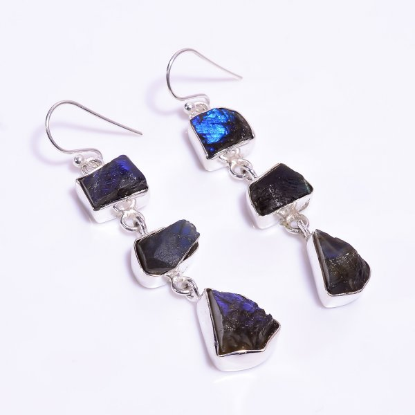 Natural Raw Labradorite Gemstone 925 Sterling Silver Earrings