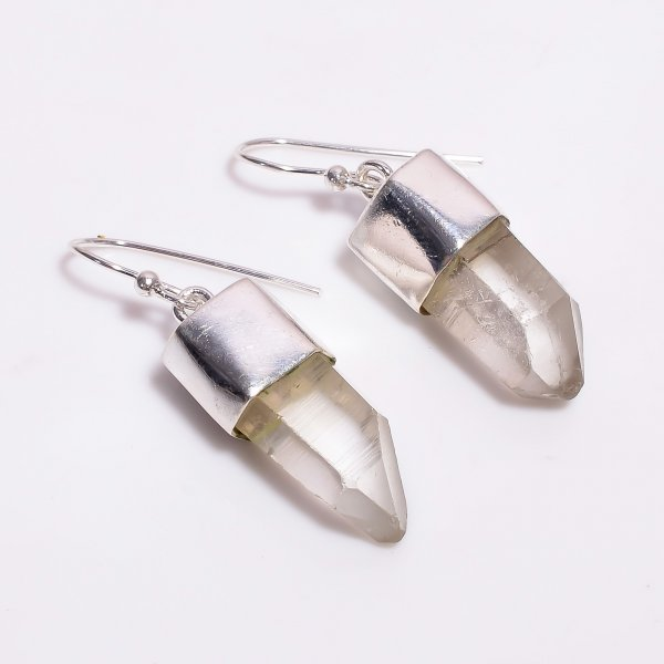 Natural Raw Crystal 925 Sterling Silver Earrings