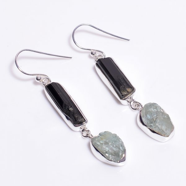 Natural Aquamarine Black Tourmaline Raw Gemstone 925 Sterling Silver Drop Earrings