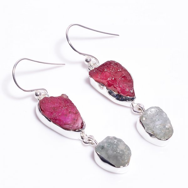Natural Raw Ruby Aquamarine Gemstone 925 Sterling Silver Earrings