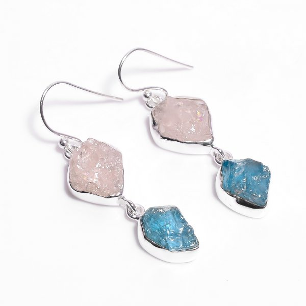 Natural Rose Quartz Sky Apatite Raw Gemstone 925 Sterling Silver Drop Earrings