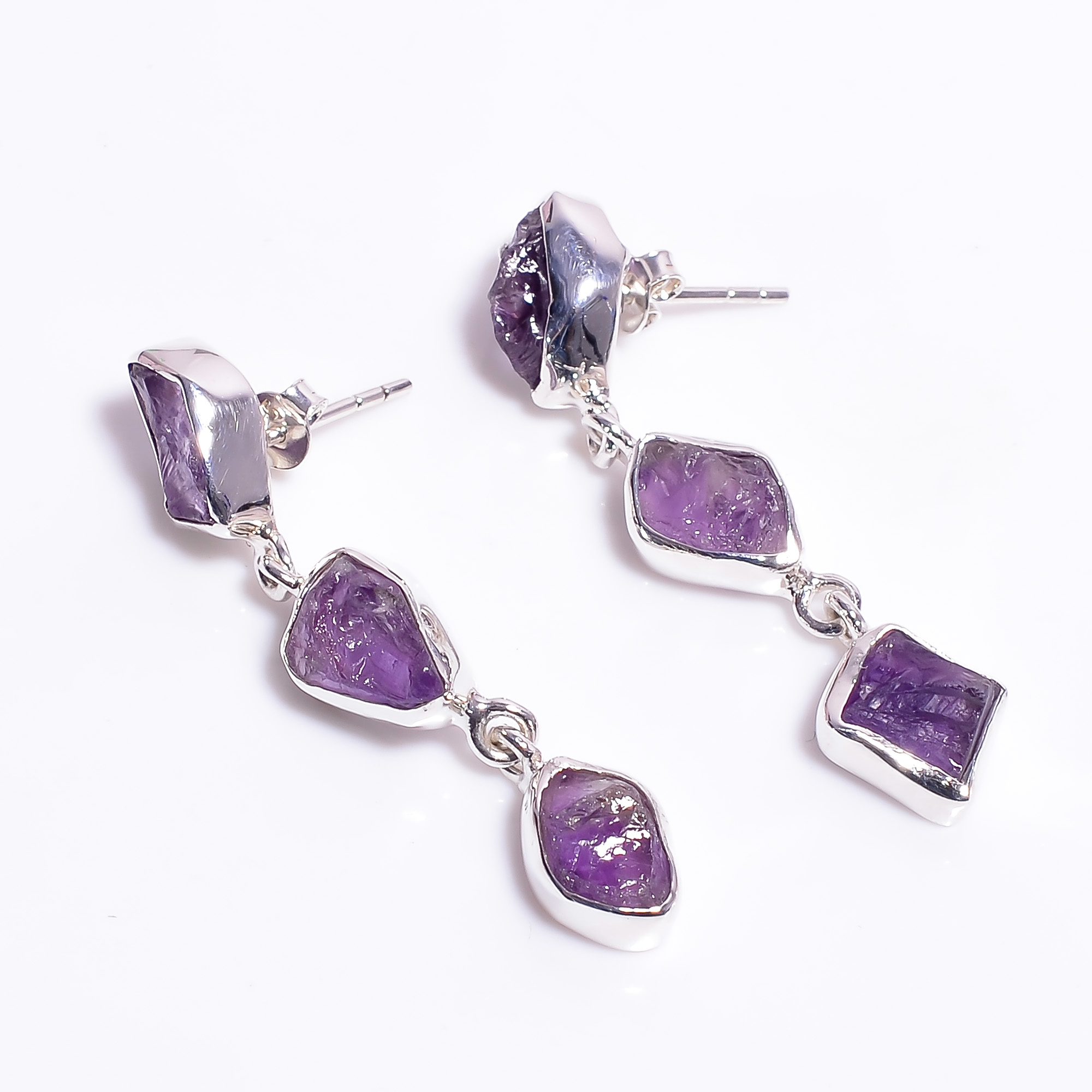 Natural Raw Amethyst Gemstone 925 Sterling Silver Earrings