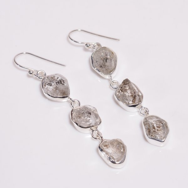 Natural Herkimer Diamond 925 Sterling Silver Earrings