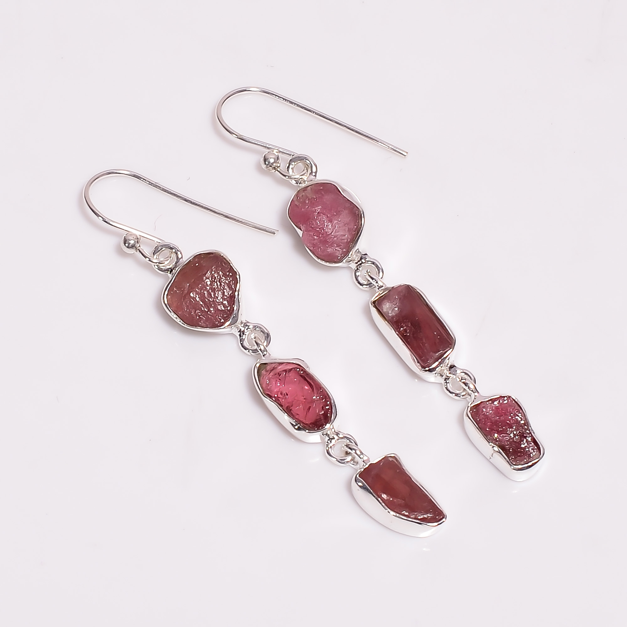 Natural Pink Tourmaline Raw Gemstone 925 Sterling Silver Earrings